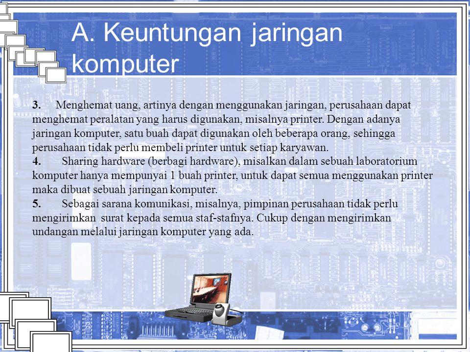 A. Keuntungan jaringan komputer