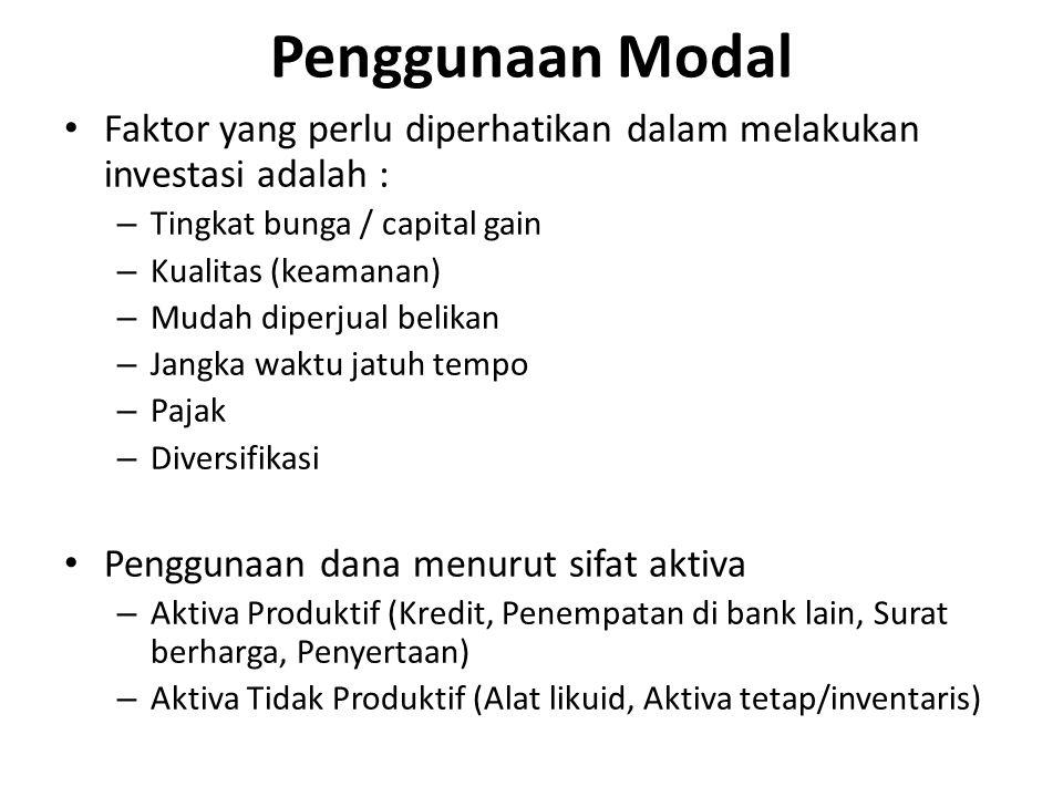 Penggunaan Modal Faktor yang perlu diperhatikan dalam melakukan investasi adalah : Tingkat bunga / capital gain.