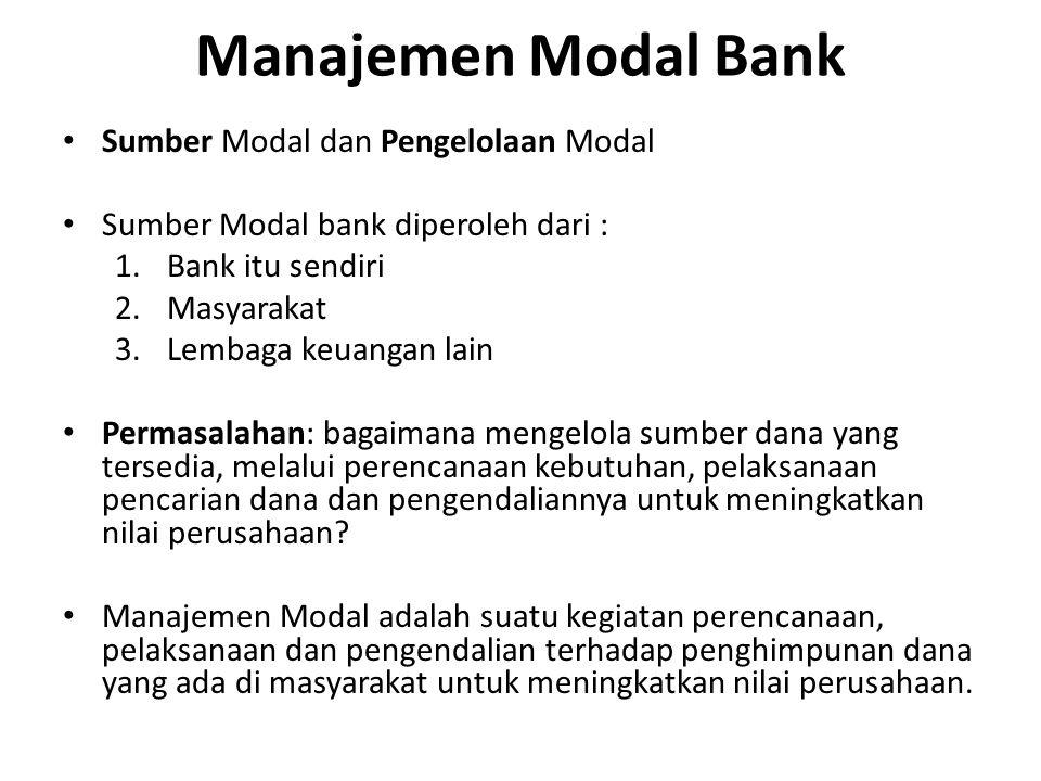 Manajemen Modal Bank Sumber Modal dan Pengelolaan Modal