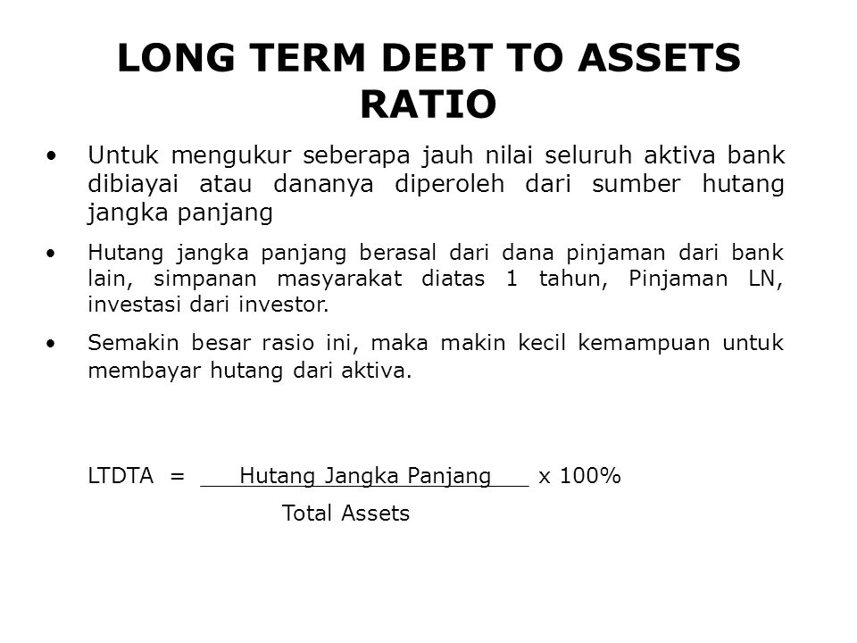 LONG TERM DEBT TO ASSETS RATIO