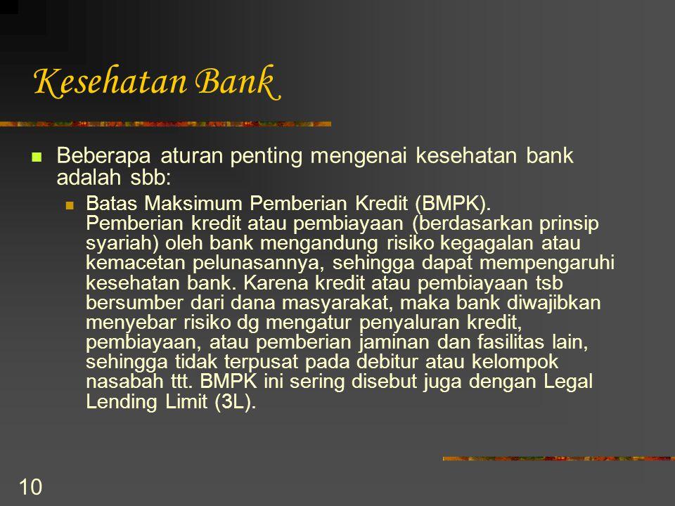Kesehatan Bank Beberapa aturan penting mengenai kesehatan bank adalah sbb: