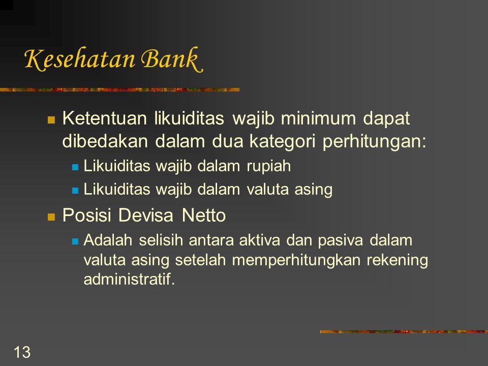 Kesehatan Bank Ketentuan likuiditas wajib minimum dapat dibedakan dalam dua kategori perhitungan: Likuiditas wajib dalam rupiah.