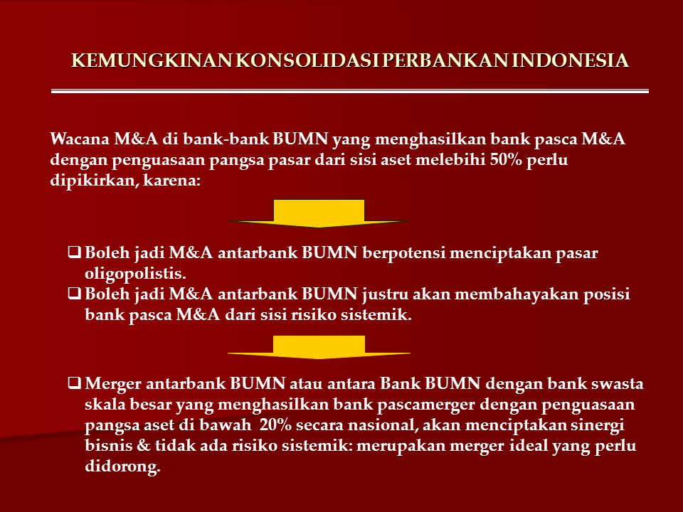 KEMUNGKINAN KONSOLIDASI PERBANKAN INDONESIA