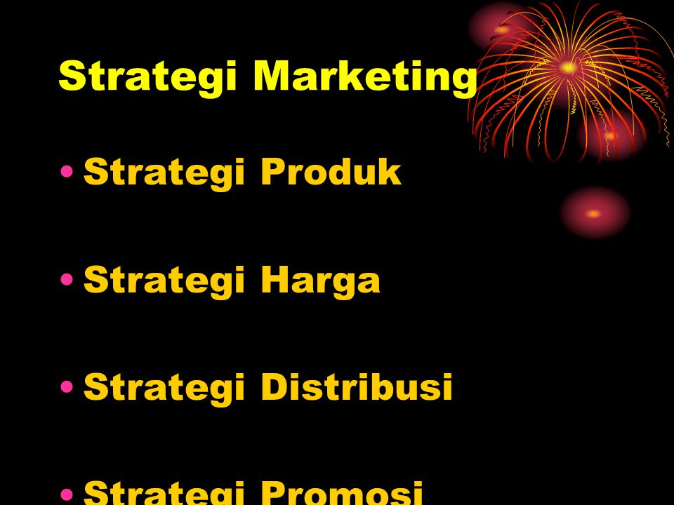 Strategi Marketing Strategi Produk Strategi Harga Strategi Distribusi