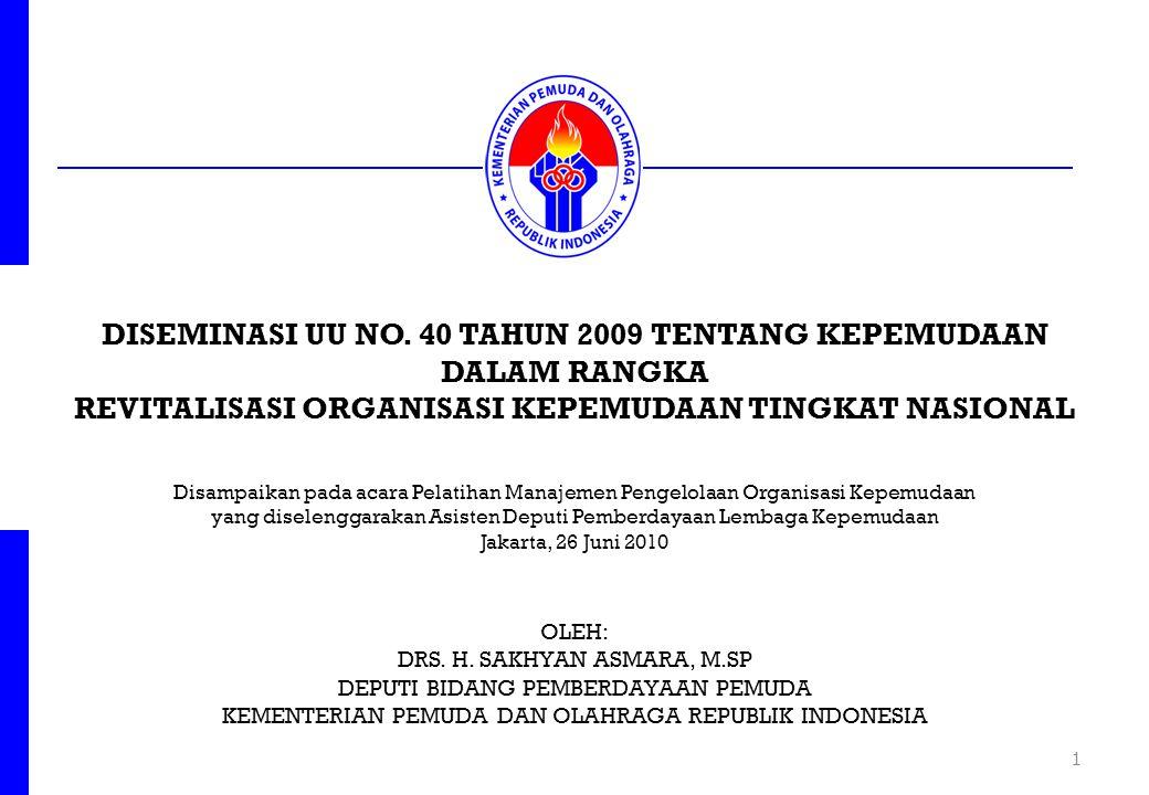 DISEMINASI UU NO. 40 TAHUN 2009 TENTANG KEPEMUDAAN DALAM RANGKA