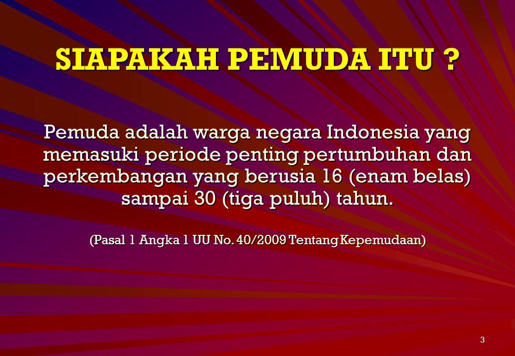(Pasal 1 Angka 1 UU No. 40/2009 Tentang Kepemudaan)