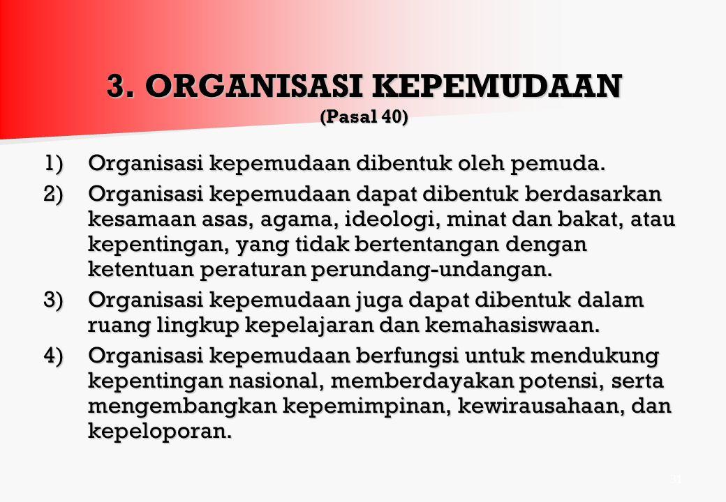 3. ORGANISASI KEPEMUDAAN (Pasal 40)