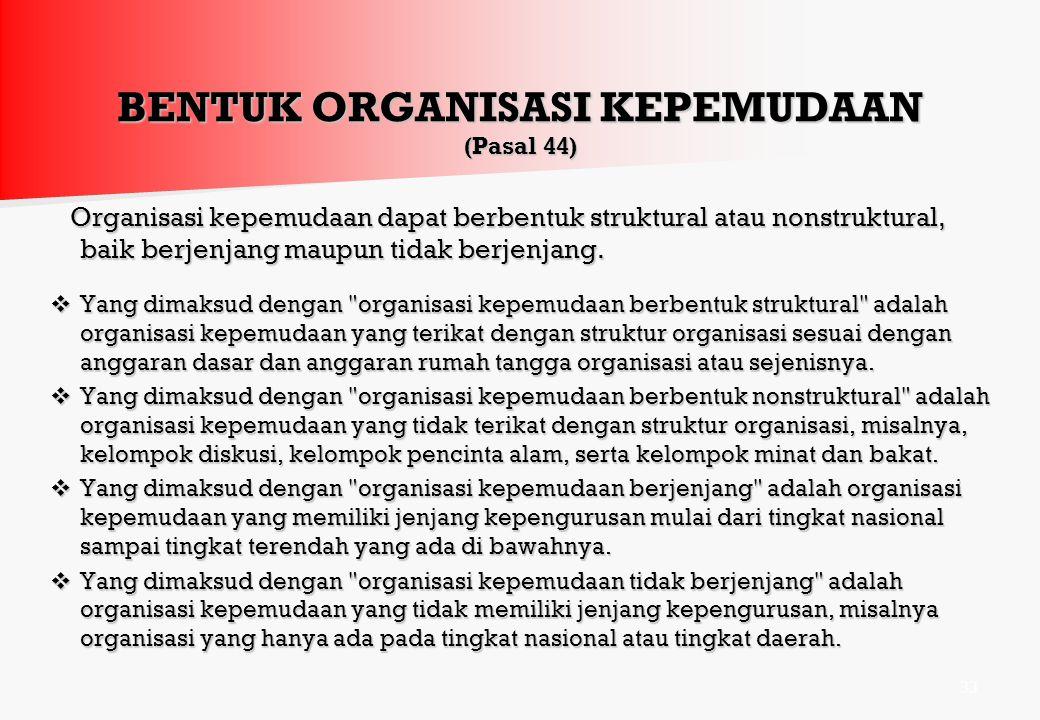 BENTUK ORGANISASI KEPEMUDAAN (Pasal 44)