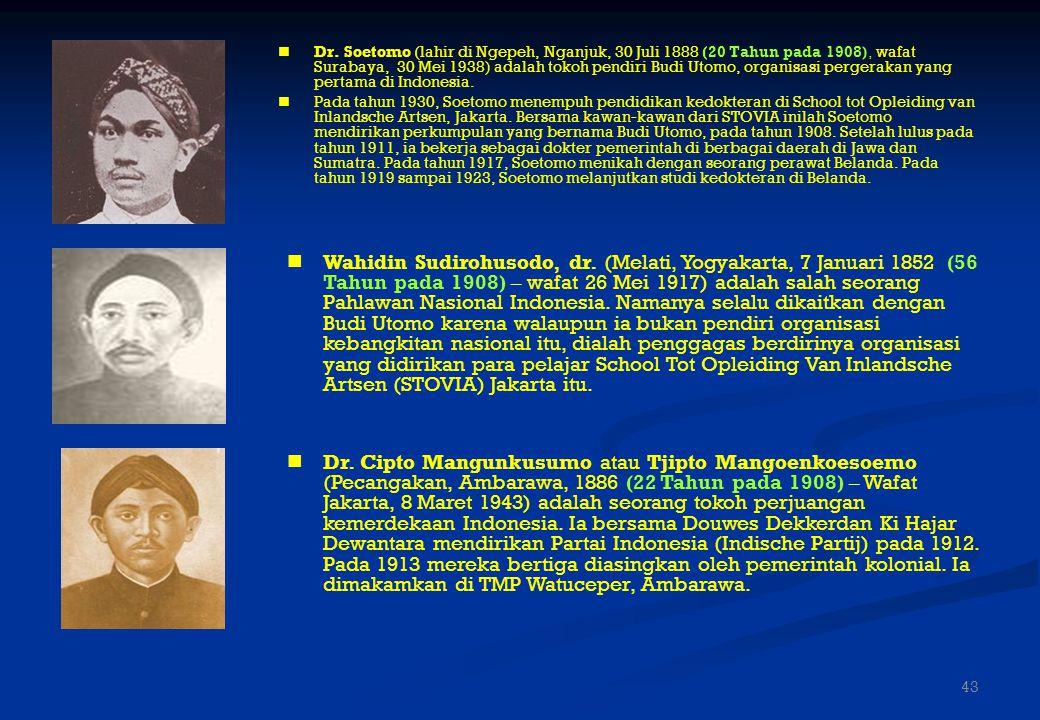 Dr. Soetomo (lahir di Ngepeh, Nganjuk, 30 Juli 1888 (20 Tahun pada 1908), wafat Surabaya, 30 Mei 1938) adalah tokoh pendiri Budi Utomo, organisasi pergerakan yang pertama di Indonesia.