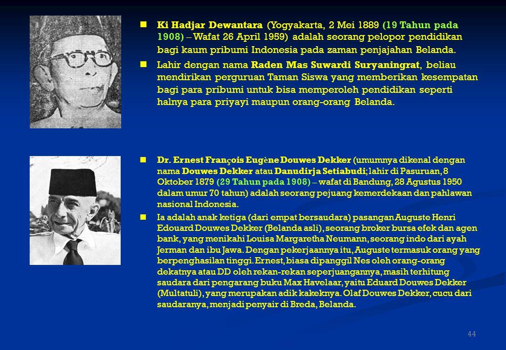 Ki Hadjar Dewantara (Yogyakarta, 2 Mei 1889 (19 Tahun pada 1908) – Wafat 26 April 1959) adalah seorang pelopor pendidikan bagi kaum pribumi Indonesia pada zaman penjajahan Belanda.