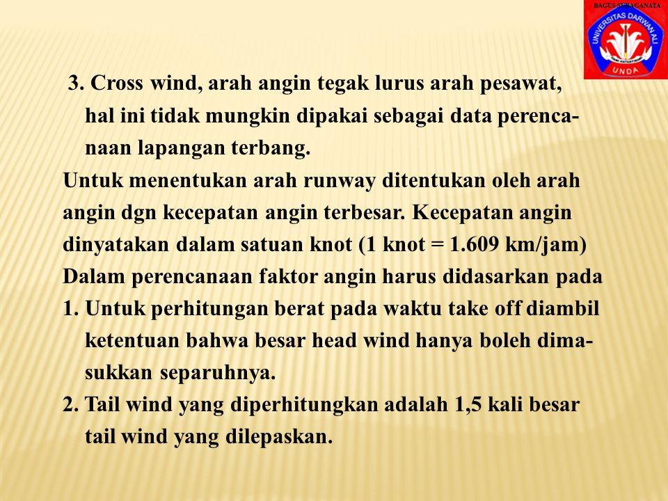 3. Cross wind, arah angin tegak lurus arah pesawat,