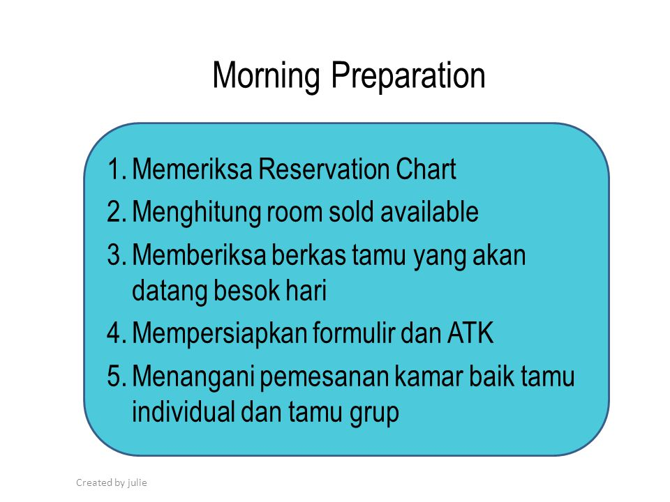 Morning Preparation Memeriksa Reservation Chart