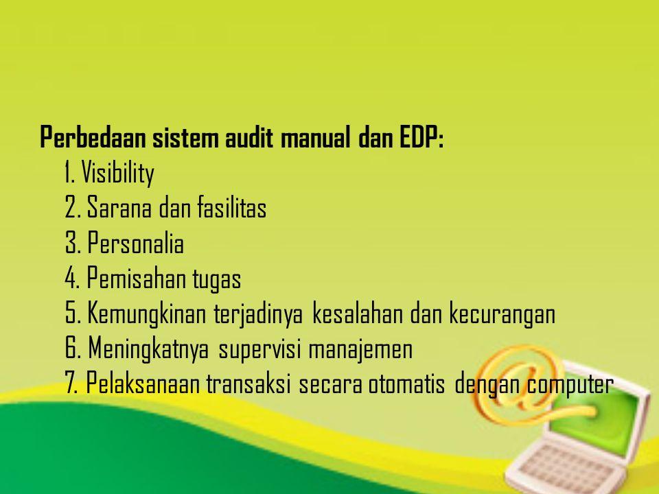 Perbedaan sistem audit manual dan EDP: 1. Visibility 2