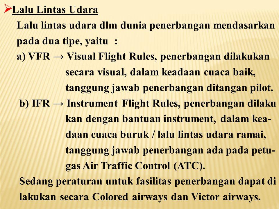 Lalu Lintas Udara Lalu lintas udara dlm dunia penerbangan mendasarkan. pada dua tipe, yaitu : a) VFR → Visual Flight Rules, penerbangan dilakukan.
