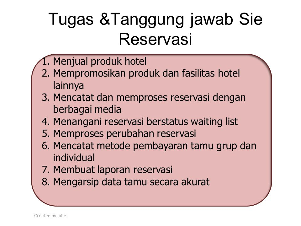 Tugas &Tanggung jawab Sie Reservasi
