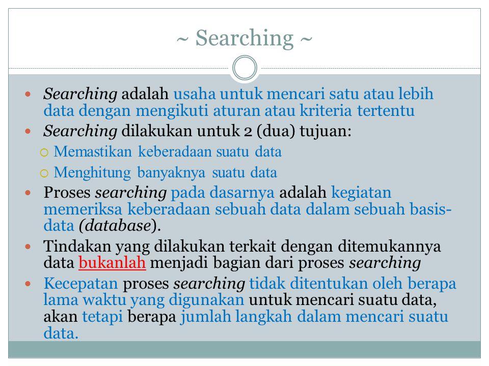 ~ Searching ~ Searching adalah usaha untuk mencari satu atau lebih data dengan mengikuti aturan atau kriteria tertentu.