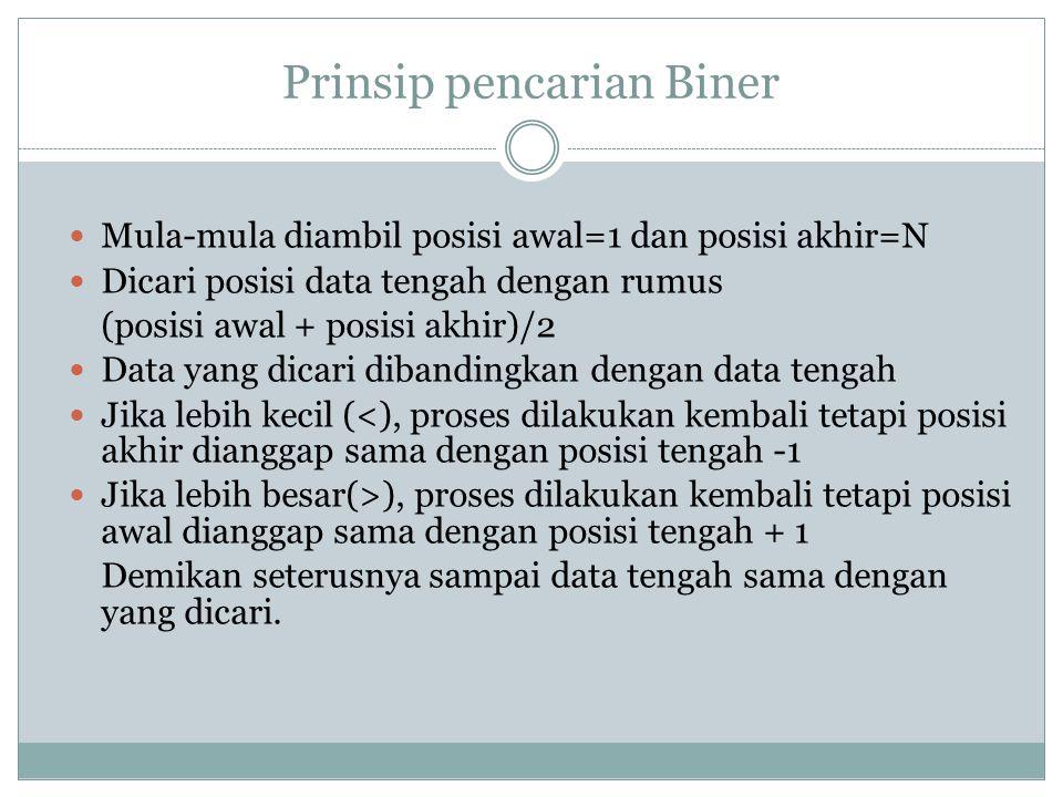 Prinsip pencarian Biner