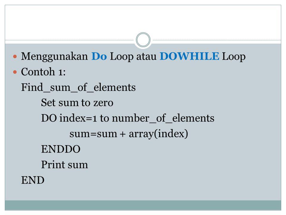 Menggunakan Do Loop atau DOWHILE Loop