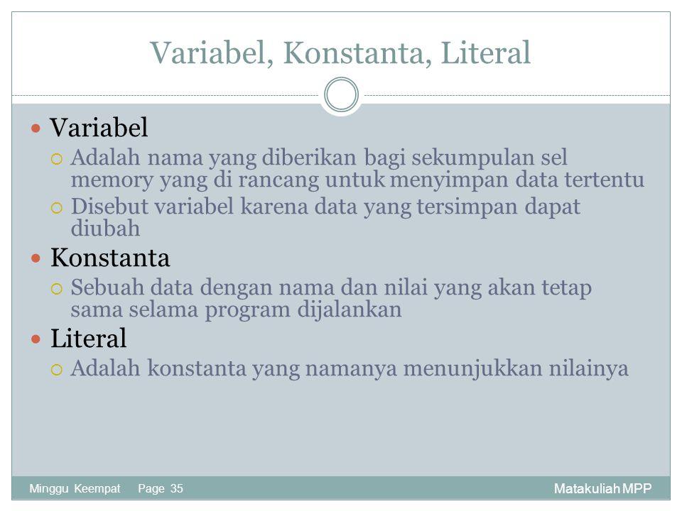 Variabel, Konstanta, Literal
