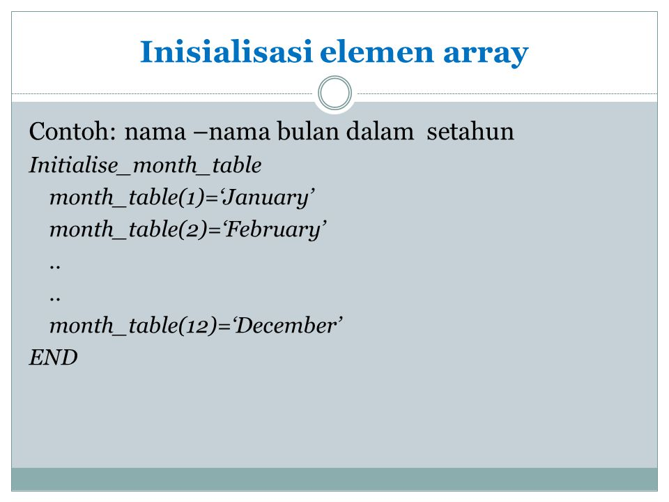 Inisialisasi elemen array