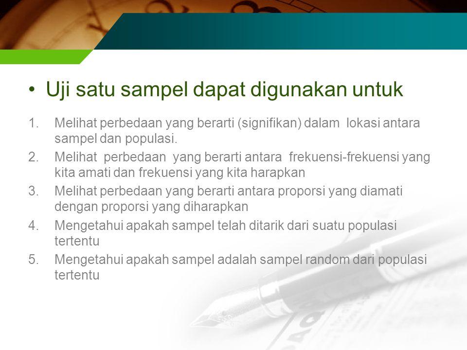 Uji satu sampel dapat digunakan untuk