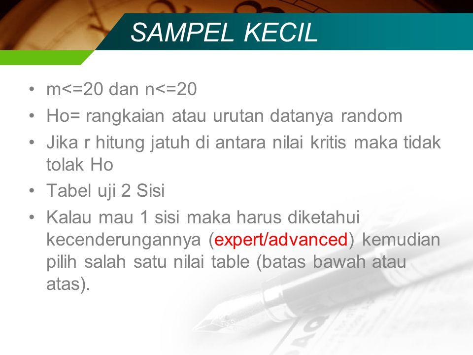SAMPEL KECIL m<=20 dan n<=20