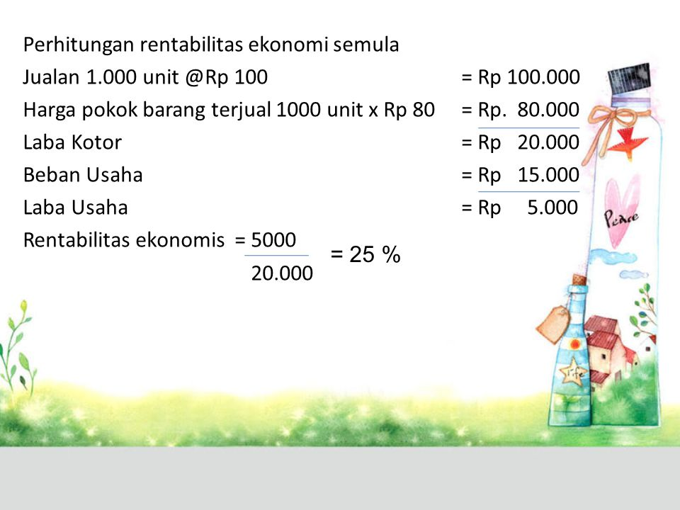 Perhitungan rentabilitas ekonomi semula Jualan 1
