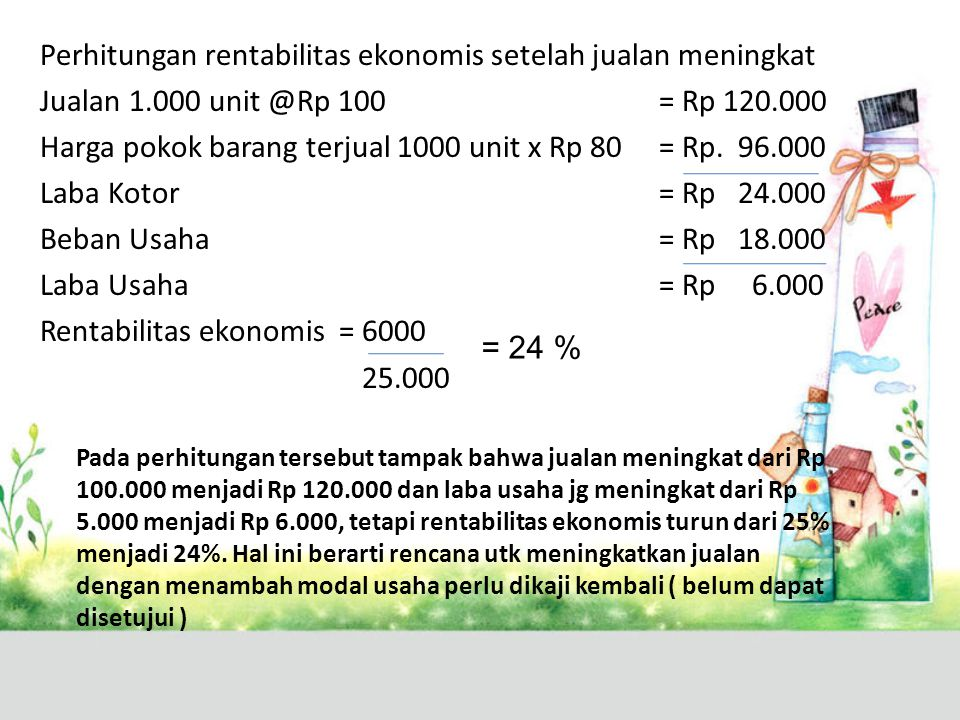 Perhitungan rentabilitas ekonomis setelah jualan meningkat