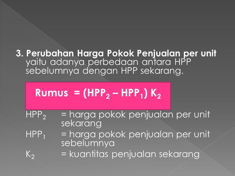 3. Perubahan Harga Pokok Penjualan per unit yaitu adanya perbedaan antara HPP sebelumnya dengan HPP sekarang.
