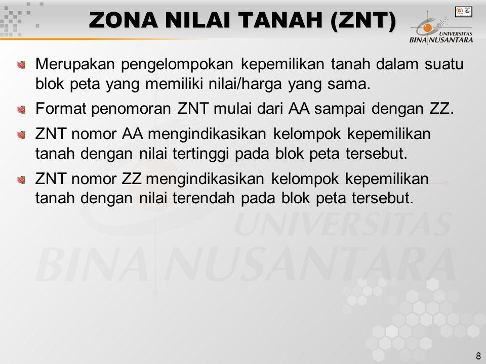 ZONA NILAI TANAH (ZNT) Merupakan pengelompokan kepemilikan tanah dalam suatu blok peta yang memiliki nilai/harga yang sama.