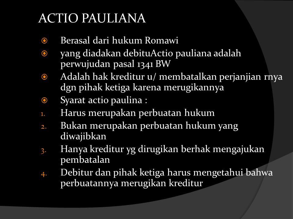 ACTIO PAULIANA Berasal dari hukum Romawi