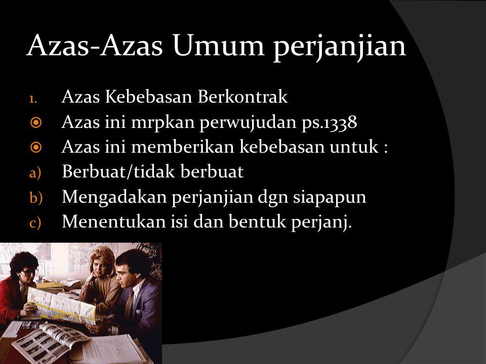 Azas-Azas Umum perjanjian