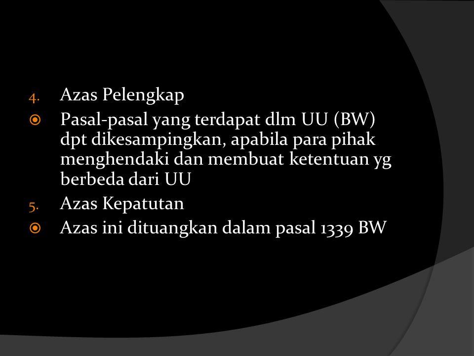 Azas Pelengkap Pasal-pasal yang terdapat dlm UU (BW) dpt dikesampingkan, apabila para pihak menghendaki dan membuat ketentuan yg berbeda dari UU.