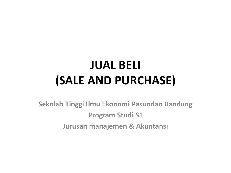 JUAL BELI (SALE AND PURCHASE)