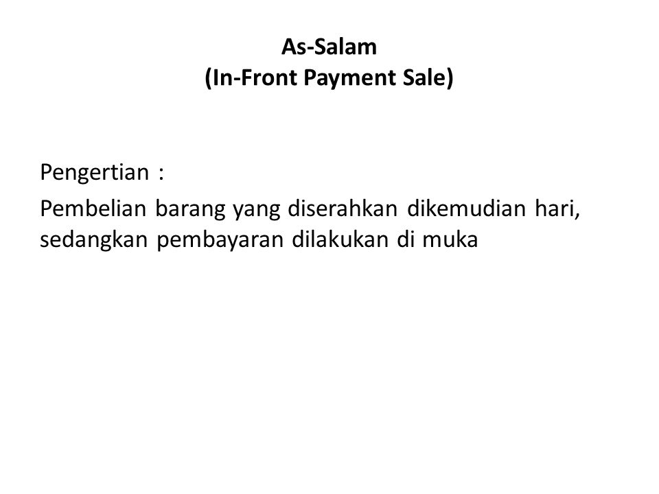 As-Salam (In-Front Payment Sale)