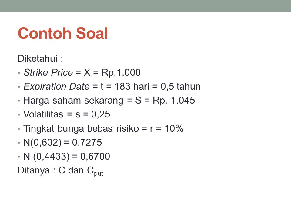 Contoh Soal Diketahui : Strike Price = X = Rp.1.000