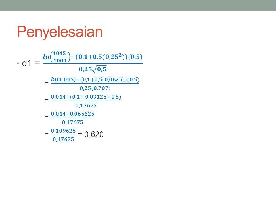 Penyelesaian d1 = 𝒍𝒏 𝟏𝟎𝟒𝟓 𝟏𝟎𝟎𝟎 +(𝟎,𝟏+𝟎,𝟓 (𝟎,𝟐𝟓 𝟐 ))(𝟎,𝟓) 𝟎,𝟐𝟓 𝟎,𝟓