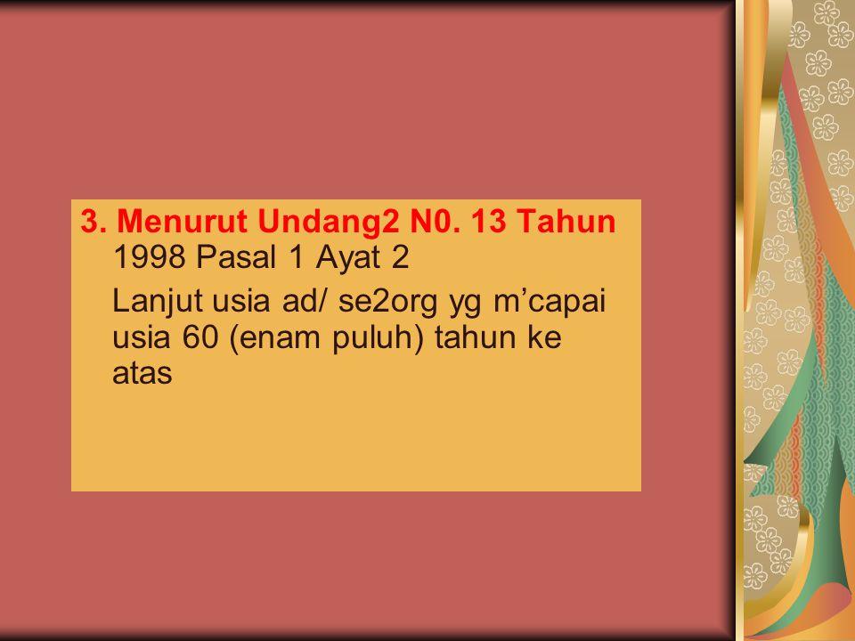 3. Menurut Undang2 N0. 13 Tahun 1998 Pasal 1 Ayat 2