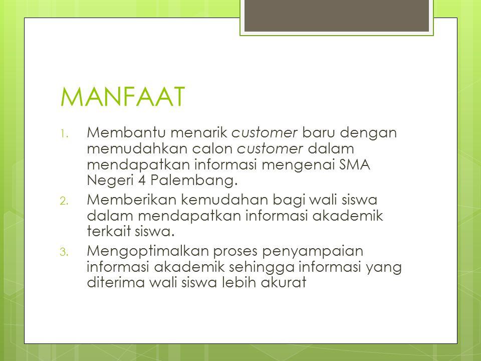 MANFAAT Membantu menarik customer baru dengan memudahkan calon customer dalam mendapatkan informasi mengenai SMA Negeri 4 Palembang.