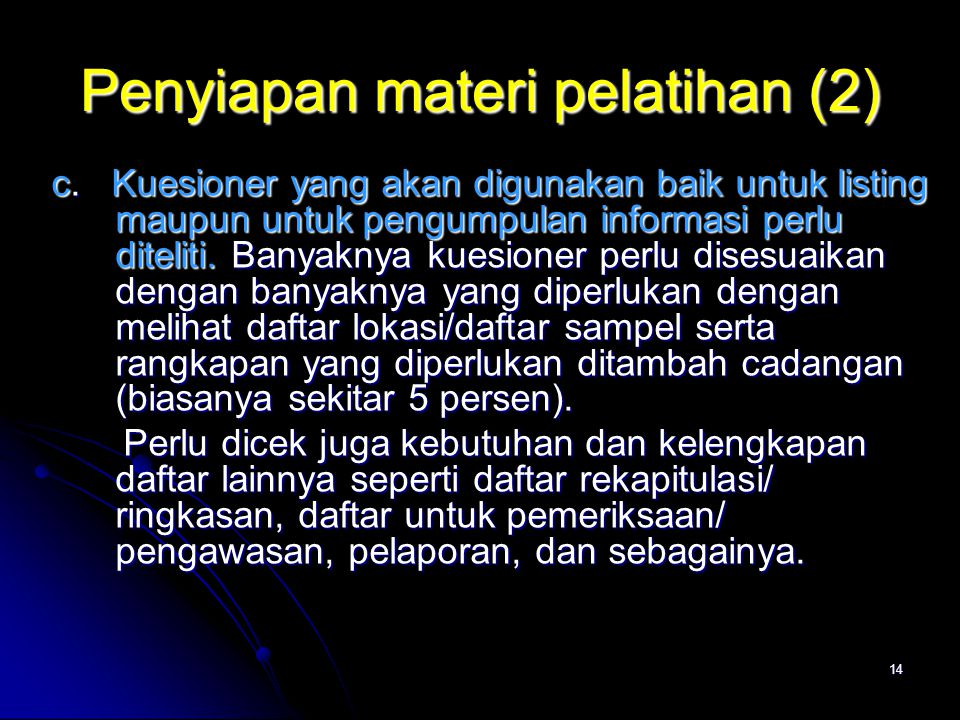 Penyiapan materi pelatihan (2)