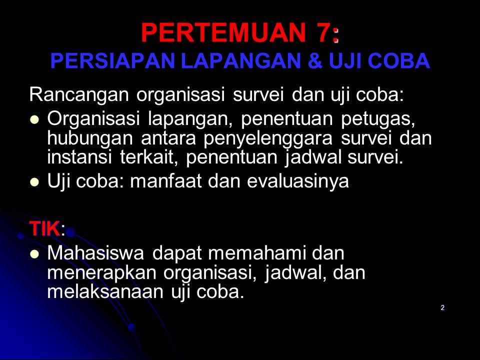 PERTEMUAN 7: PERSIAPAN LAPANGAN & UJI COBA