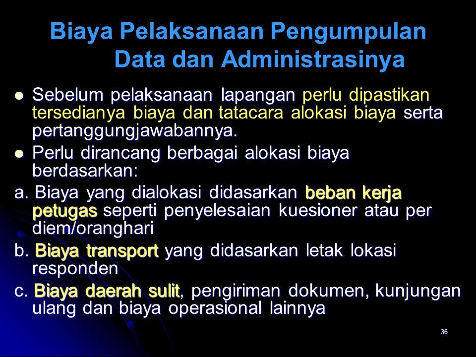 Biaya Pelaksanaan Pengumpulan Data dan Administrasinya