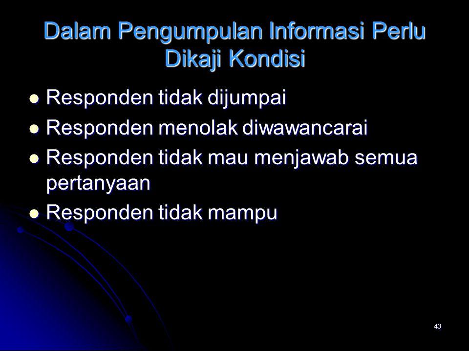 Dalam Pengumpulan Informasi Perlu Dikaji Kondisi