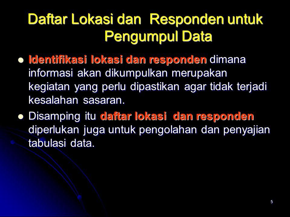 Daftar Lokasi dan Responden untuk Pengumpul Data