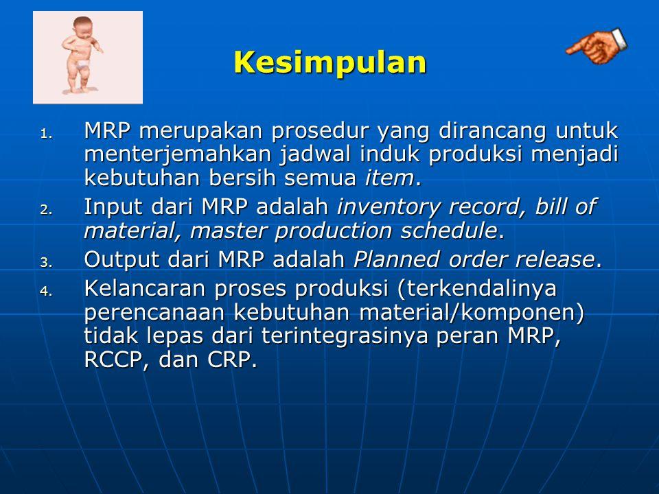 Kesimpulan MRP merupakan prosedur yang dirancang untuk menterjemahkan jadwal induk produksi menjadi kebutuhan bersih semua item.