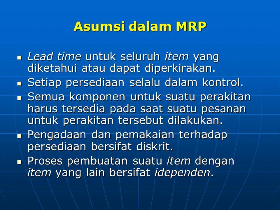 Asumsi dalam MRP Lead time untuk seluruh item yang diketahui atau dapat diperkirakan. Setiap persediaan selalu dalam kontrol.