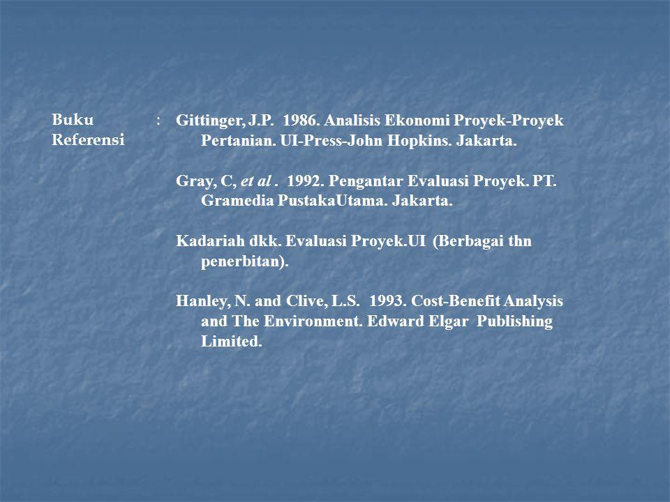 Buku Referensi : Gittinger, J.P. 1986. Analisis Ekonomi Proyek-Proyek. Pertanian. UI-Press-John Hopkins. Jakarta.