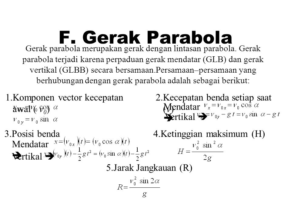 F. Gerak Parabola Komponen vector kecepatan awal ( v0)