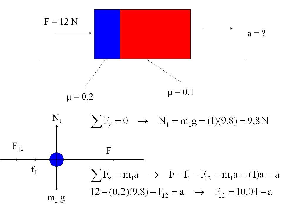  = 0,2  = 0,1 F = 12 N a = N1 m1 g F f1 F12