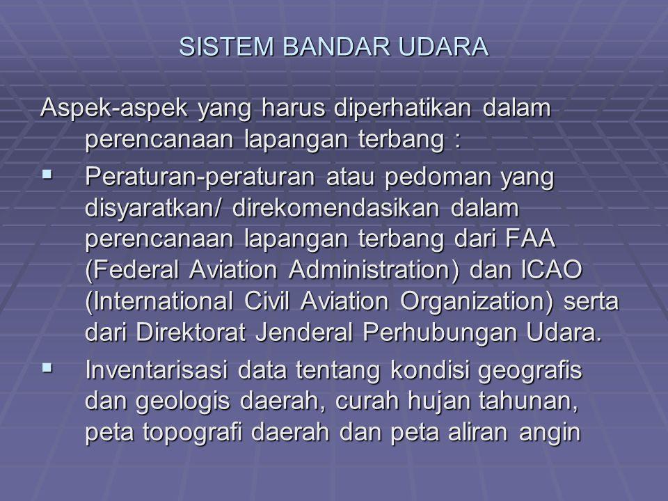 SISTEM BANDAR UDARA Aspek-aspek yang harus diperhatikan dalam perencanaan lapangan terbang :